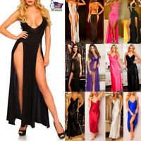Women Sexy Lingerie Babydoll Sleepwear Lady Long Dress Nightgown Robe Pajama Set