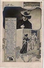 Calendario Mese Dicembre 1905 PC Belle Epoque Fotomontaggio Segni Zodiacali