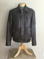 FILSON Men's Jacket Coat Medium Leather Aviator Bomber Motorcycle Dark Brown
