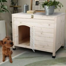 Pet Dog House Indoor 3 Steps Assembly Natural Wooden Cabin Kennel Cat Puppy Room