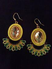 Tassel earrings dangle fan Artisan Beaded rhinestone Boho Chic Yellow lime hook