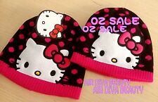 Baby Girls Kids Black Cute Warm Winter Autumn Thermal Hello Kitty Beanie Hat Cap