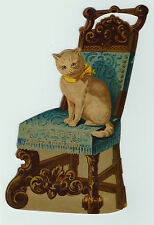 NICE Advertising Die cut Trade Card - Kitty Cat in Chair- Bakery Buffalo NY 1880