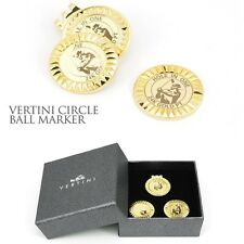 Vertini 24K Gold PT. Hole In One Golf 2Ball Markers+1Bottom Clip Set