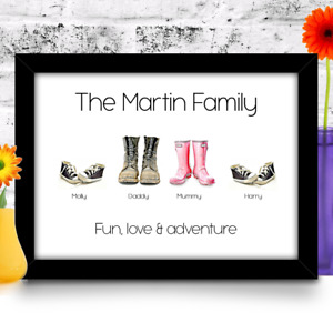 Personalised Birthday Gift for Mum Mummy Mother family shoes A4 size print