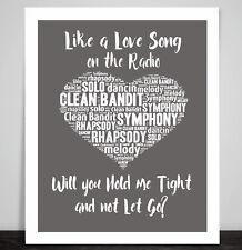 Clean Bandit Symphony Music Love Song Lyrics Heart Framed Art Print Wedding Gift