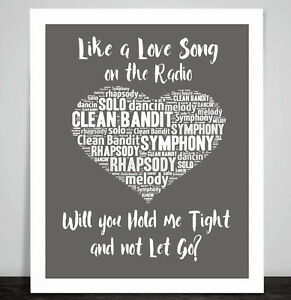 Clean Bandit Symphony Music Love Song Lyrics Heart Framed Art Print Wedding Gift