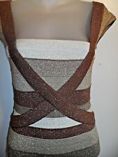 Wow Couture S NWOT Bandage Dress Metallic Gold Nude Begie Cocktail Party Club