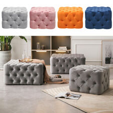 Square Chesterfield Button Matte Velvet Pouffe Footstool Coffee Table Sofa Seat