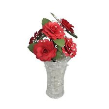 With My Hands Valentine Handmade Red Paper Rose Bouquet in Vase