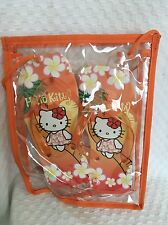 New Sanrio Hello Kitty Hawaii  Flower Orange Slippers Clear Bag