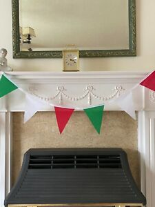 NEW! Handmade Italian Themed Green White & Red Bunting Polycotton Fabric