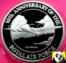 1998 TURKS AND CAICOS 20 Crowns Lancaster Royal Air Force RAF Silver Proof Coin