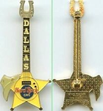 Hard Rock Cafe DALLAS 1998 Horseshoe & Hat Yellow STAR GUITAR PIN Catalog #23630