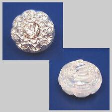 1 böhmischer Glasknopf mit Strass Steinchen · Crystal Silber 11mm · k099