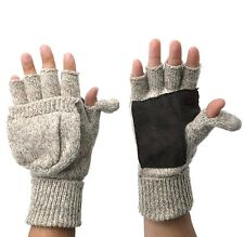 Thermal Insulation Knit Fingerless Mitten Winter Gloves W/ Thumb Flap - Oatmeal
