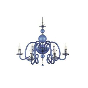 Suspended Lights Classic With Glass And Crystal Blue
