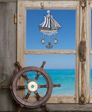 Fensterbild maritim SCHIFF aus echter Plauener Spitze inkl. Saughaken