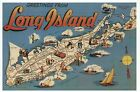 Greetings from Long Island New York, Atlantic Ocean Boat etc Modern Map Postcard