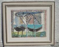 Hans Kuhn (1905 - 91 Baden-Baden) Paesaggio con Albero e Nave - Autografato