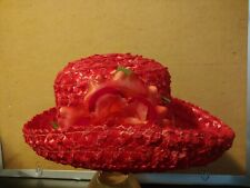 Stunning Ladies Red Hat w/ Red Flower Bow (1950s) / Kentucky Derby Style