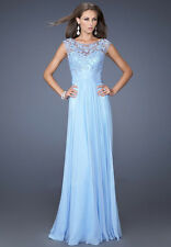 See through back beaded illusion lace top light blue evening dress