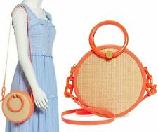 Ted Baker Agneti Resin Handle Straw Circle Crossbody Shoulder Bag Neon / Orange