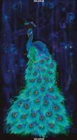 "23"" Fabric Panel - Timeless Treasures Plume Metallic Peacock Green Blue"