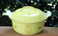 New listing Vintage Dru Holland Yellow Enamel Cast Iron Dutch Oven Casserole Dish Pot w/ Lid
