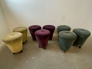 A Delightful Set of Eight Coloured Fabric Pouf Pouffe Seat Footstools