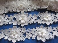 "1y Lace Edge 1.75"" Pearl Flower Trim Ribbon Wedding Applique DIY Sewing-White"