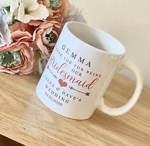 Personalised Bridesmaid Ceramic Mug Gift 11oz Mug Ceramic Thank You Keepsake