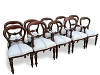 8,10,12,14,16 plus beautiful Victorian style Balloon back chairs French polished
