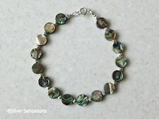 Blue & Green Abalone Paua Shell Coins & Sterling Silver Beaded Designer Bracelet