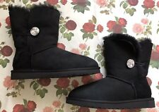 UGG Australia Black Bailey Button Swarovski Bling Boots Black Size 7