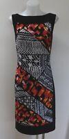 Joseph Ribkoff Black Stretch Dress with Bold Print - Size Aust 12