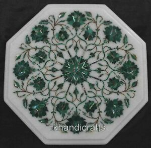 Malachite Stone Side Table Top with Inlay Work Marble Corner Table 12 Inches