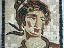 """Amphitrite"" Neptune's wife Handmade roman marble mosaic Wall hanging MOSAIQUE"