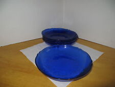 Glass Salad / Dessert Plates (5) Five  By Arcoroc France Frosted Cobalt Floral