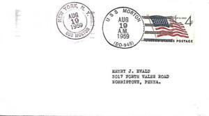 MORTON (DD-948) 19 Aug 1959 Locy Type 2(n+u)(A,USS) & 9fu Postmarks