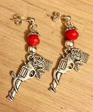 Gun and Rose Earrings, Black Or Red and Silver Beads Dangle Rockabilly Steampunk
