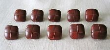 10 Vintage 1950's New Genuine Leather Square Woven Shank Buttons Jackets Coats