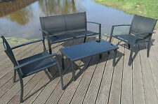 Sofa And Chair Set Garden Patio Relax Metal Glass Coffee Table Black Home Seater