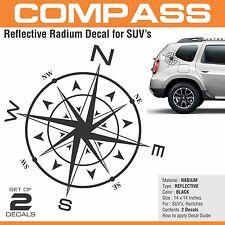 Compass Black Reflective Decal / Sticker for SUVs ( Duster, Creta, Brezza Etc)
