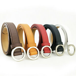 Fashion Women No-hole Buckle Belt Jeans Dress Thin Synthetic Leather Waist Strap