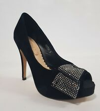Ladies Shoes Siren KARLA Size 5 Black Suede Diamonte Peeptoe Heels EUC