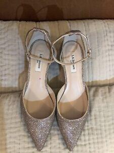 New L.K. Bennett Shoes Womens Size UK 9 EUR 42 Gold Glitter Buckle Formal