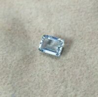 AAA+ deep Blue Aquamarine 8x6 mm Emerald Cut Flawless Loose stone Free Shipping