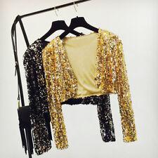Women Sequins Cropped Cardigan Bolero Shrug Dance Shawl Shiny Sparkly Show Tops