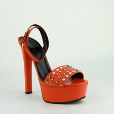$695 New Gucci Orange Leather Platform Heels with Silver Studs 374523 7523